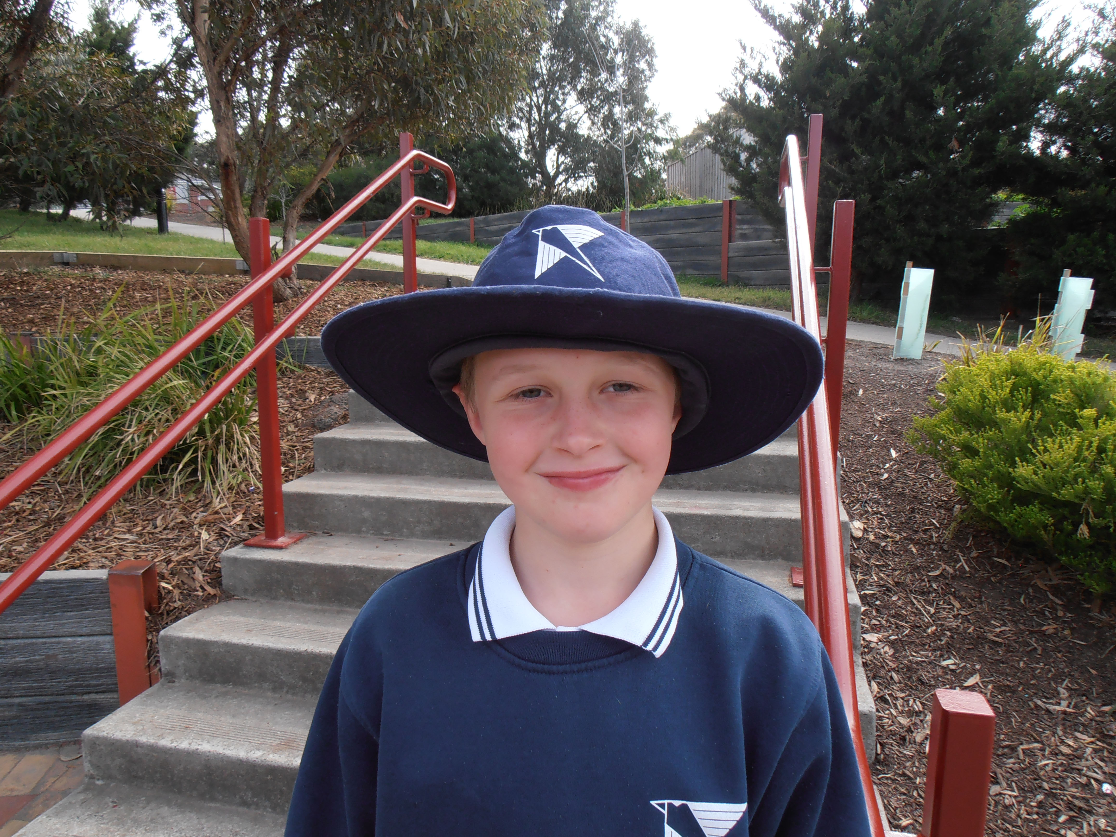 School Student with Hat
